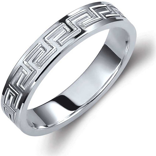 Wedding Band 14ck White Gold  With the Greek Key Design
