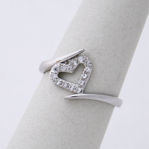 GOLD RING 9CK WHITE Gold HEART Design with Cubic Zirconia in Brilliant Round Cut