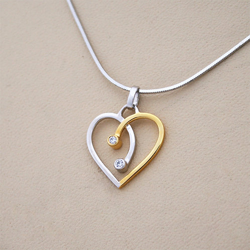 LOURDAS LINKS OF HEARTS STERLING SILVER NECKLACE
