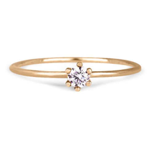 GOLD RING 14CK Yellow Gold with Diamond B0.10 in Brilliant Round Cut