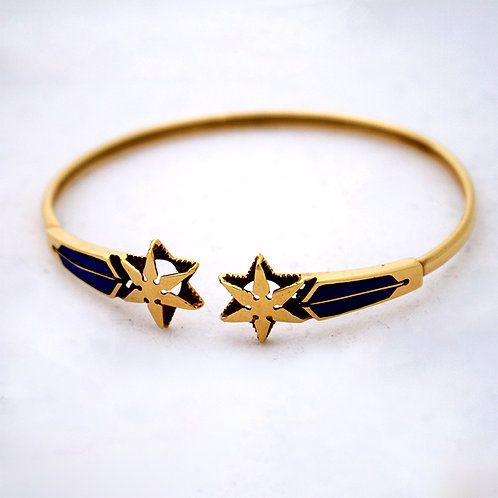 GOLD BANGLE 18CK YELLOW GOLD  Star Fish Design with Lapis Lazuli Stone