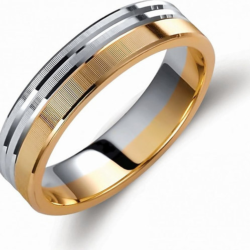 Wedding Band 14ck White &Yellow  Gold  Two-Tone ,Matt-Finish&Diamond Cut Design