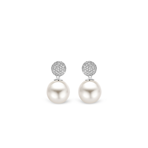 Ti Sento Earrings in spheres of brilliant-cut cubic zirconia with pearly stones