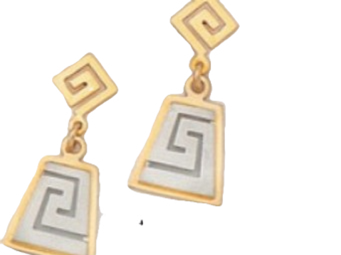 GREEK KEY DESIGN MEANDROS  White and Gold Sterling Silver Earrings