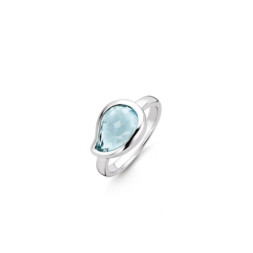 Ti Sento Ring crafted in Silver rhodium plated with watery blue facetted stone