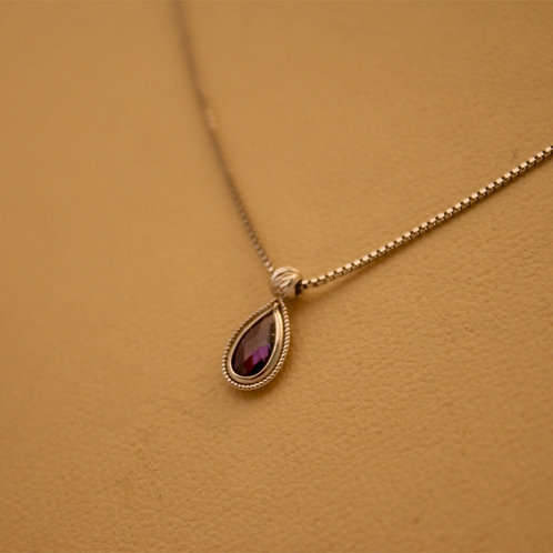 GOLD Necklace 14ck White Gold  Amethyst in Pear Cut Design