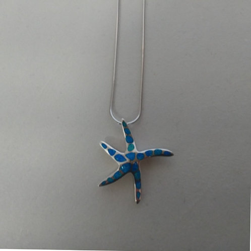 GREEK KEY DESIGN MEANDROS OPAL STAR FISH PENDANT NECKLACE