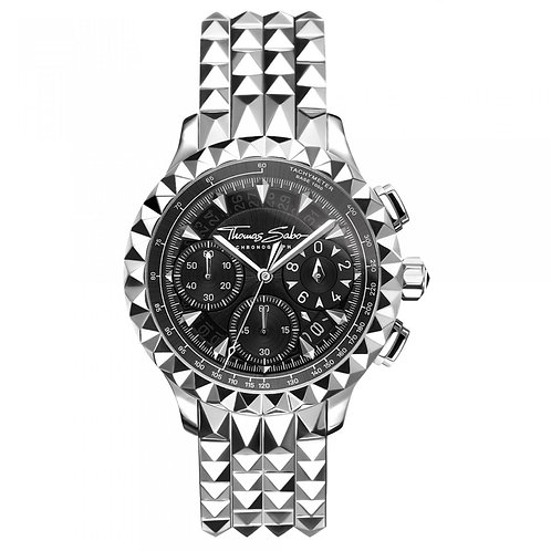 THOMAS SABO Men's Watch REBEL AT HEART CHRONOGRAPH SILVER BLACK Stainless Steel