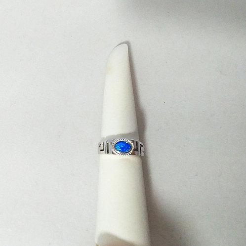 GREEK KEY DESIGN MEANDROS STERLING SILVER BLUE OPAL RING