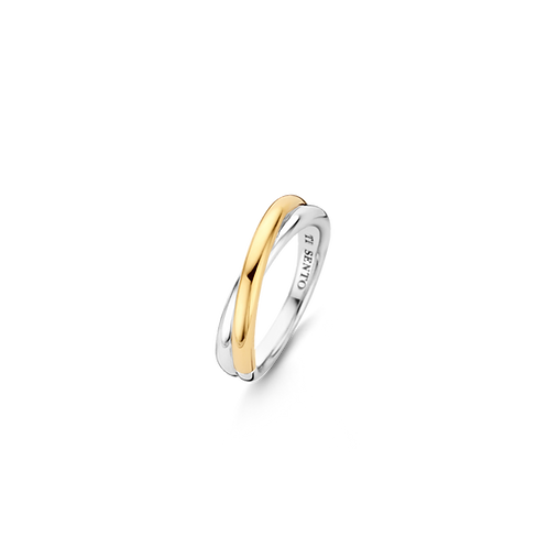 Ti Sento Ring  timeless design Smooth yellow Gold Plated and sterling silver
