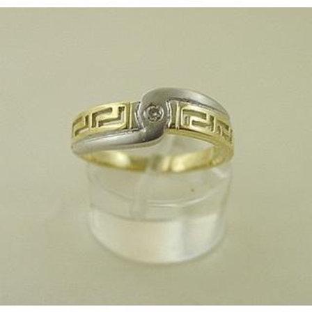 GREEK KEY DESIGN MEANDROS 14ck  YELLOW&WHITE  GOLD Ring