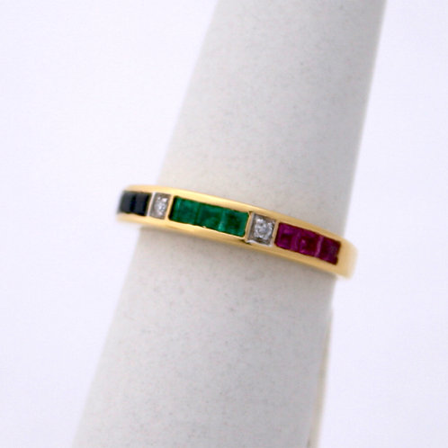 GOLD RING 14CK Gold with Rubies,Emeralds,Saphires and Diamonds
