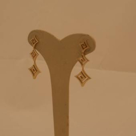 GREEK KEY DESIGN MEANDROS 14ck  YELLOW GOLD Drop  Earrings