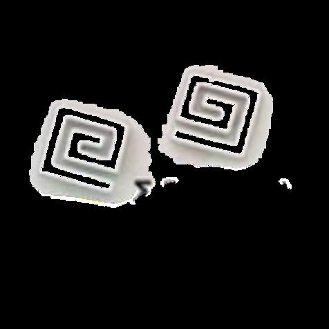 GREEK KEY DESIGN MEANDROS 14ck  WHITE GOLD Stud  Earrings