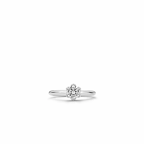 Ti Sento Ring with a beautiful-cut  cubic zirconia stone with clawed housing