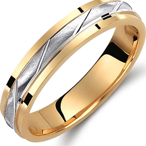 Wedding Band 14ck White&Yellow  Gold  Two-Tone with Matt-Finish Teqnique