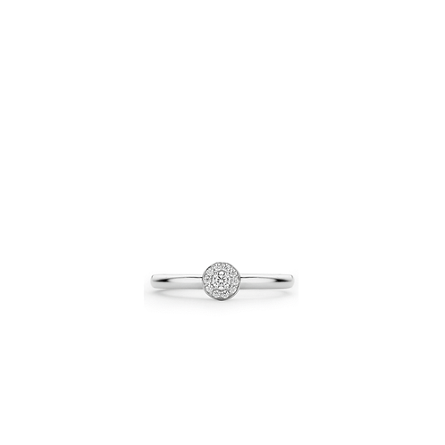 Ti Sento Ring with a modest circle setting with brilliant cut zirconias