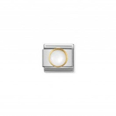 Nomination COMPOSABLE CLASSIC LINK IN GOLD WITH  ROUND WHITE MOTHER OF PEARL