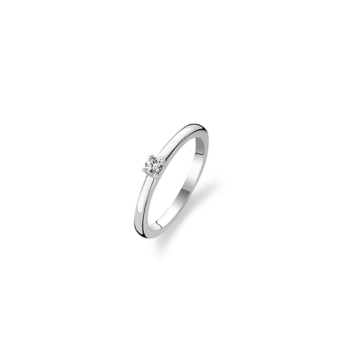 TI Sento Stackable Ring with a pavé cubic zirconiaWhite stone