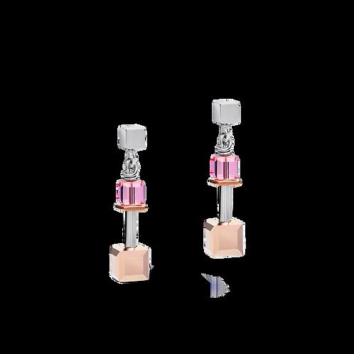 COEUR DE LION Earrings GeoCUBE® Swarovski® Crystals &rose gold-silver multicolor