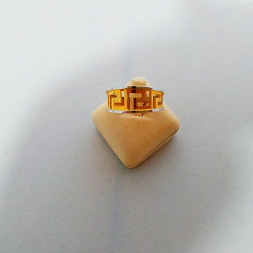 GREEK KEY DESIGN MEANDRO TWO TONE WHITE&GOLD STERLING SILVER RING