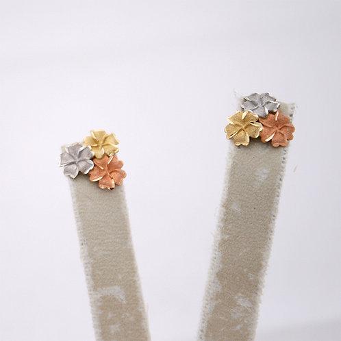 GOLD EARRINGS 14CK Gold FLOWER DESIGN,WHITE,YELLOW&ROSE Gold