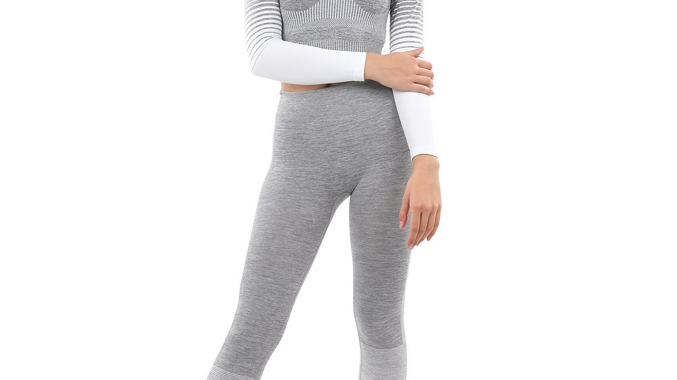 Bocana Seamless Leggings & Sports Top Set - Grey & White