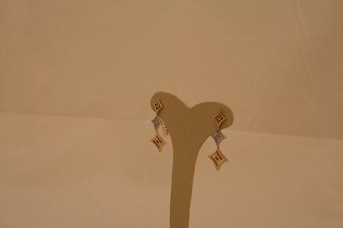 GOLD GREEK KEY  DesignMeandros Earrings 14ck Yellow, White &Rose Gold