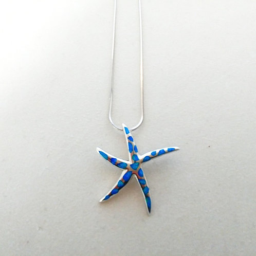 GREEK KEY DESIGN MEANDROS OPAL STARFISH PENDANT NECKLACE
