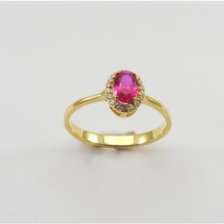 GOLD RING 14CK Yellow Gold with Fancy  Cubic Zirconia in Brilliant Round Cut