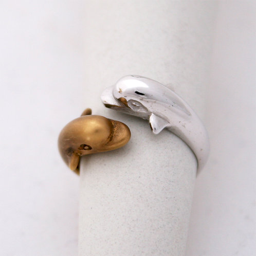 GOLD RING  DOLPHINS 14CK Gold TWO TONE White&Yellow Gold