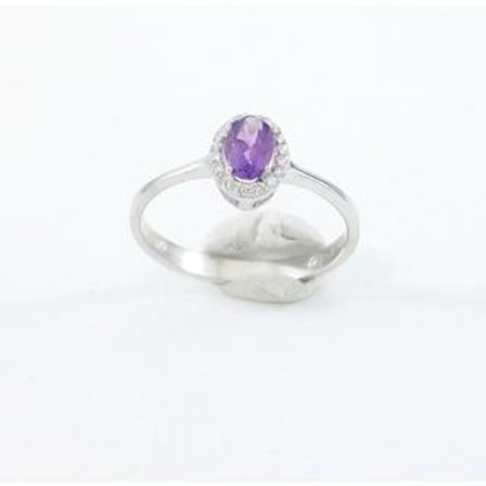 GOLD RING 14CK WHITE Gold with IOLITE in Brilliant Round Cut