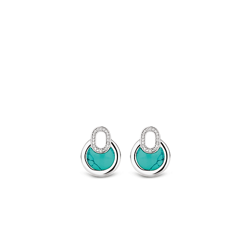 Ti Sento Earrings with turquoise stones and pavé white zirconia's,  amulet shape