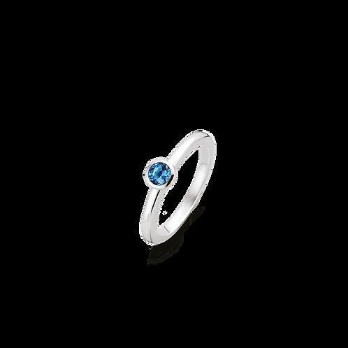 Ti Sento Ring solitaire  with a dark Blue brilliant-cut round stone