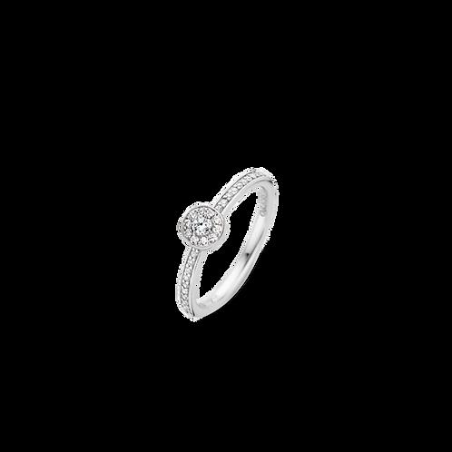 Ti Sento ring narrow band set with zirconias and sparkle of brilliant cut stone