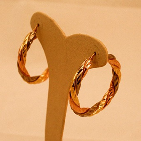 GOLD EARRINGS 18CK White,Yellow & Rose Gold Cartier Style Design