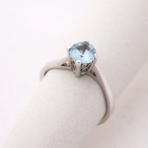GOLD RING 14CK WHITE  Gold with Aquamarine Stone in Brilliant Round Cut