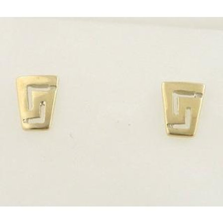 GREEK KEY DESIGN MEANDROS 14ck  YELLOW GOLD Stud  Earrings