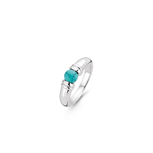 Ti Sento Ring  Silver rhodium plated with turquoise round  playful stone