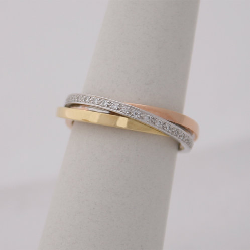 GOLD RING White,Yellow&Rose 18CK Gold with Diamonds