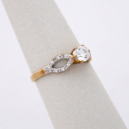 GOLD RING 9CK Gold with Cubic Zirconia in Brilliant Round Cut