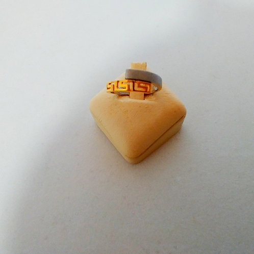 GREEK KEY DESIGN MEANDROS  WHITE AND GOLD STERLING SILVER RING