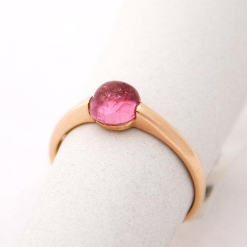 GOLD RING 14CK Gold with Tourmaline in Brillliant Round Cut