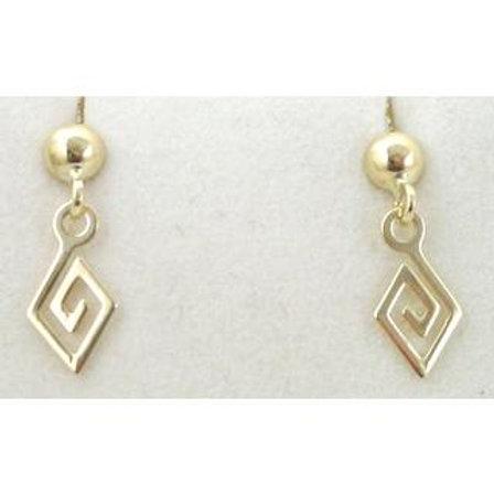 GREEK KEY DESIGN MEANDROS 14ck  YELLOW GOLD   Earrings