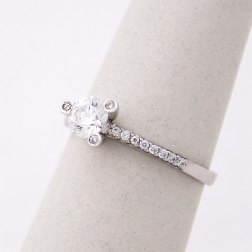 GOLD RING 14CK WHITE  Gold with Cubic Zirconia in Brilliant Round Cut