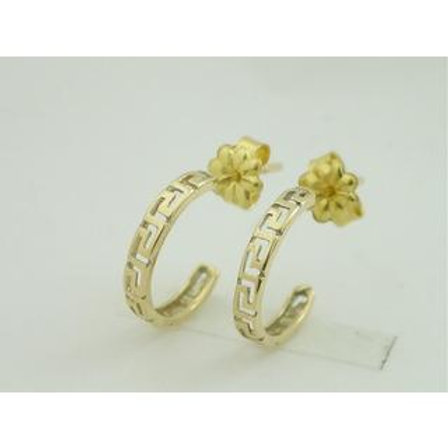 GREEK KEY DESIGN MEANDROS 14ck  YELLOW GOLD Hoops   Earrings