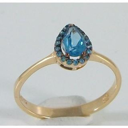 GOLD Ring 14ck YELLOW Gold with Fancy Color Blue Cubic Zirconia