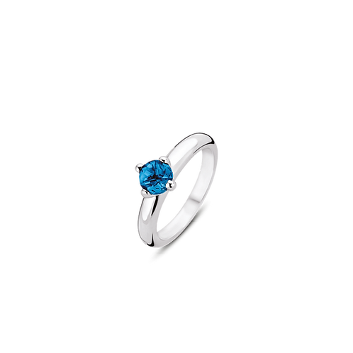 Ti Sento Ring with handset clear blue round playful sparkle stone
