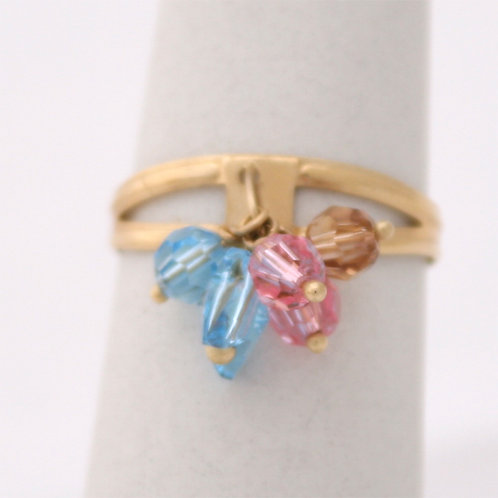 GOLD RING 14CK Gold with Tourmalines in Brilliant Round Cut