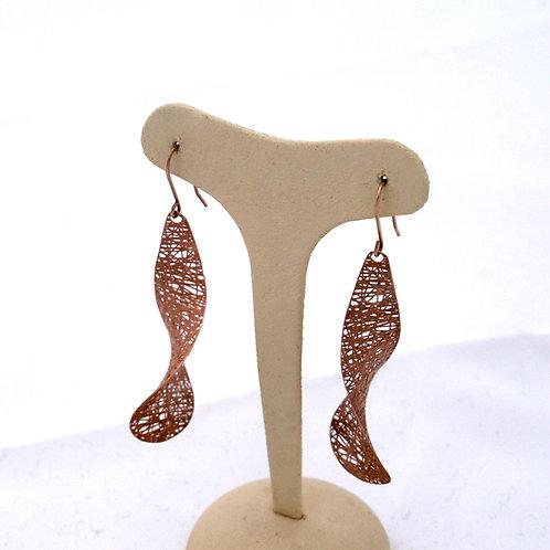 GOLD Earrings 14CK Rose Gold with Matt Finish Drop Design